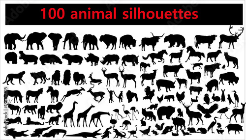 Collection of animal silhouettes on white background Wallpaper Mural