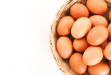 Fresh Eggs In A Wooden Basket ...