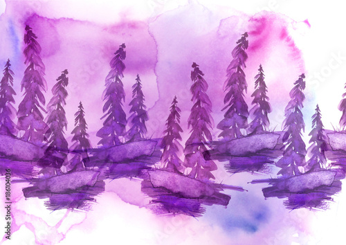 Tuinposter Purper Watercolor drawing - forest landscape, spruce, pine, slope. Pink, lilac on a white background.