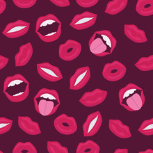 Female Lips. Mouth With A Kiss...