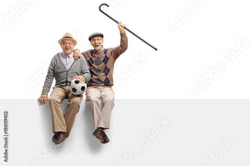 Photo  Cheerful seniors with a football seated on a panel
