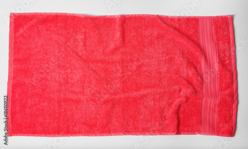 Soft terry towel on light background, top view Fototapeta