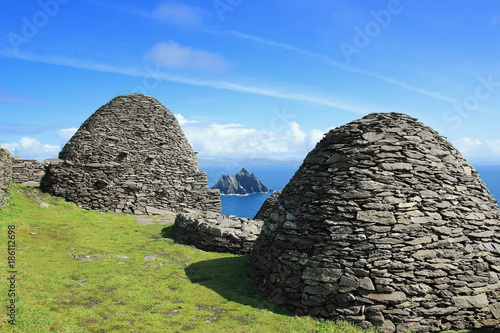 Visit Skellig Michael and in backround Little Skellig, County Kerry, Ireland, Europe Canvas Print
