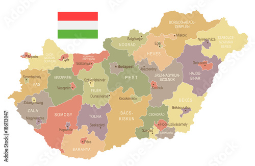 Fotografie, Tablou Hungary - vintage map and flag - Detailed Vector Illustration