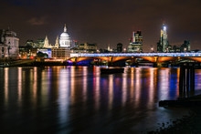 London Night Cityscape With Bl...