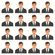 vector illustration of a face expressions, set of a different face expression, cartoon character, avatar