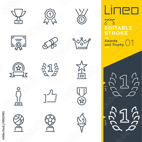 Lineo Editable Stroke - Awards and Trophy line icons Wall mural