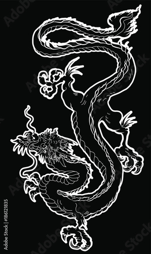 Japanese old Dragon sticker on black background Chinese dragon