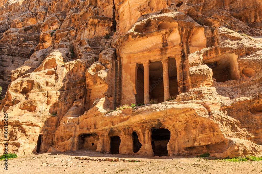 Caved buildings of Little Petra in Siq al-Barid, Wadi Musa, Jordan