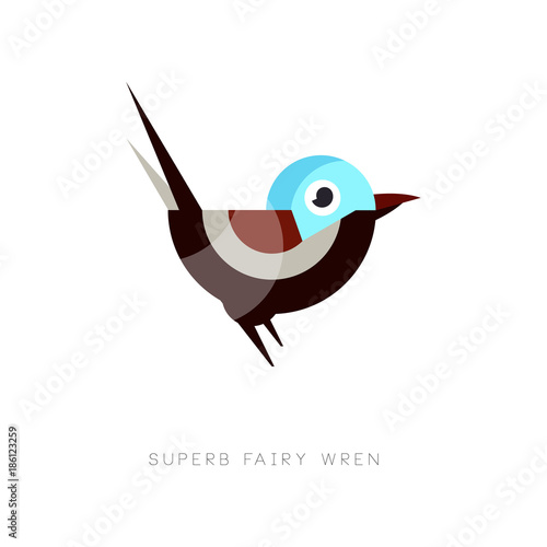 Fotografía Colored superb fairy wren icon