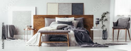 Fototapeta Modern bedroom with wooden bench obraz na płótnie