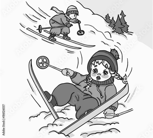 Girl fell while skiing  Funny - Buy this stock illustration