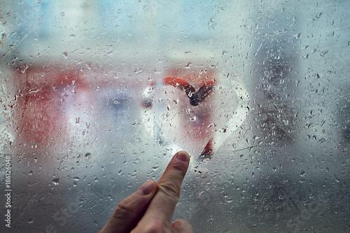 Fotografie, Obraz  Heart shape on the window