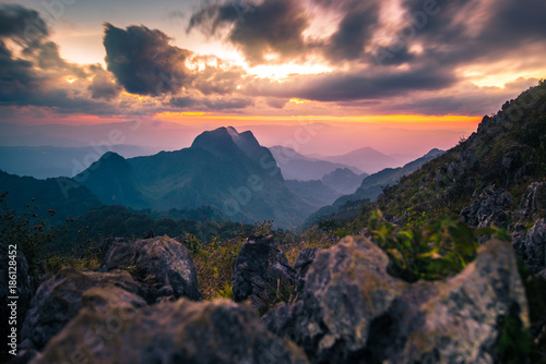 Fototapety, obrazy:  Landscape view of Doi Luang Chiangdao while sunset in Chiangmai, Thailand.