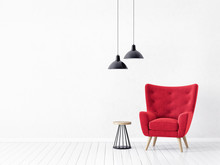 .modern Living Room  With  Red Armchair And Lamp. Scandinavian Interior Design .furniture. 3d Render Illustration