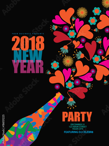 happy new year card poster or invitation design psychedeic design with hearts and flowers