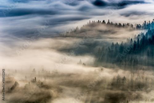 Jesienne  poranne mgły ,Beskid Sądecki,Jaworzyna Krynicka