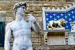 canvas print picture - Michelangelo's David statue in the Piazza della Signoria, Florence
