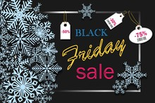 Black Friday Banner Design With Blue Snowflakes And Price Discounts For Party, For Online Shopping, Advertising Actions, Magazines And Websites. Vector Illustration.