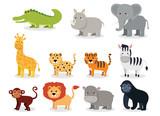 Fototapeta Fototapety na ścianę do pokoju dziecięcego - Wild animals set in flat style isolated on white background. Vector illustration. Cute cartoon animals collection: crocodile, rhinoceros, elephant, giraffe, leopard, tiger, zebra, monkey, lion, hippo
