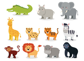 Fototapeta Wild animals set in flat style isolated on white background. Vector illustration. Cute cartoon animals collection: crocodile, rhinoceros, elephant, giraffe, leopard, tiger, zebra, monkey, lion, hippo