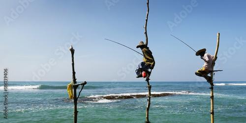 Fotografie, Obraz  srilankan fisherman fishing sitting on stick of wood