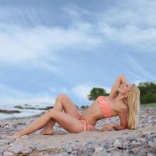 Sporty Girl In Bikini On Beach
