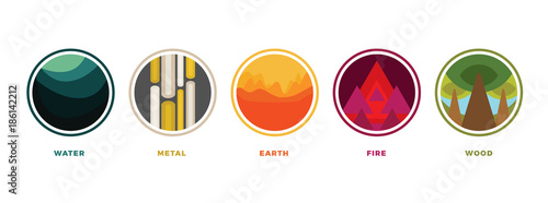 Photo  Feng shui stylized flat colorful vector icons