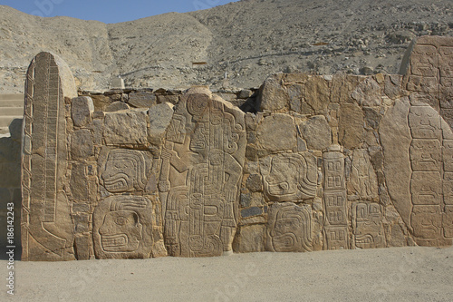 cerro sechin temple with reliefs representing warrior priests and