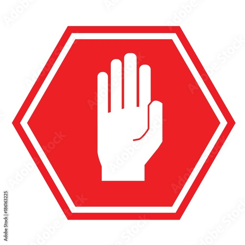 hand stop sign for traffic road sign vector icon buy this stock rh stock adobe com stop sign vector free download stop sign vector png