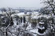 Sunny winter day in Prague, city panorama view