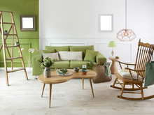 Beautiful Decorated Living Room Green Wall And Furniture