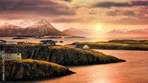 Fotografie, Obraz  Stykkisholmur rocky fjords at sunset