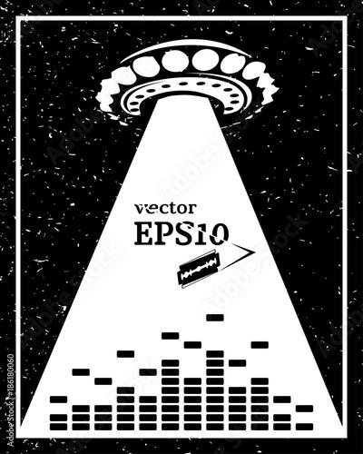 Monochrome alien invasion music frame Wallpaper Mural