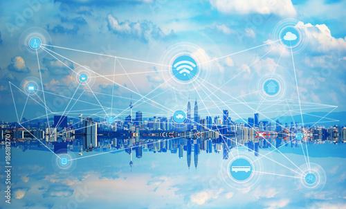 Foto op Canvas Kuala Lumpur Smart city and wireless communication network, abstract image visual, internet of things .