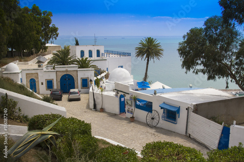 Staande foto Tunesië Sidi Bou Said - typical building with white walls, blue doors and windows