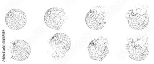 Fotografía  Broken Polygonal Wireframe Sphere