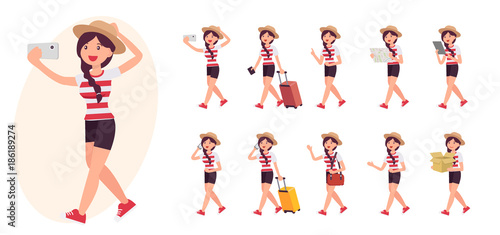 Fototapeta Cartoon character design female collection in ten different pose and gesture obraz