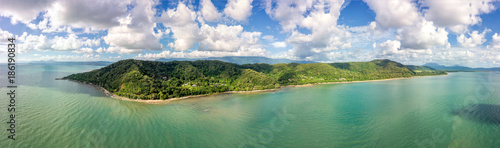 Super wide aerial panoramic view of the Daintree forest in Queensland Australia. Located 2 hours north of Cairns.