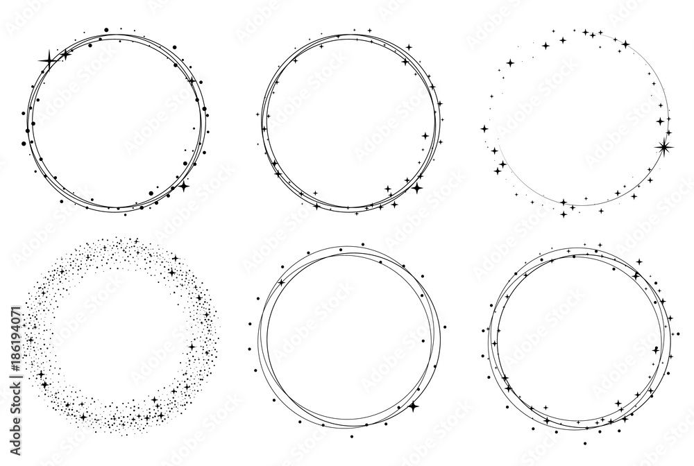 Fototapety, obrazy: Set of vector graphic circle frames. Wreaths for design, logo template. Stardust, stars, starry sky