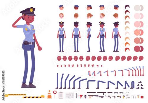 Fototapeta Young black policewoman character creation set