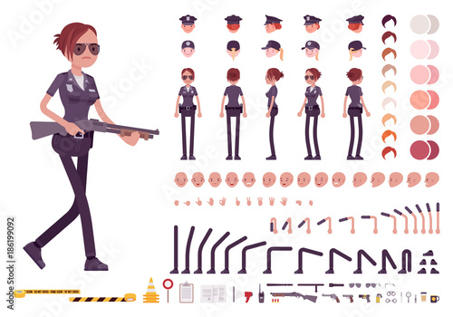 Canvas Print Young policewoman character creation set