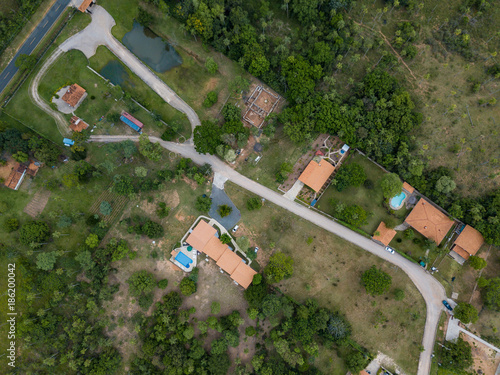 Aerial view of a German settlement in Paraguay. Canvas Print