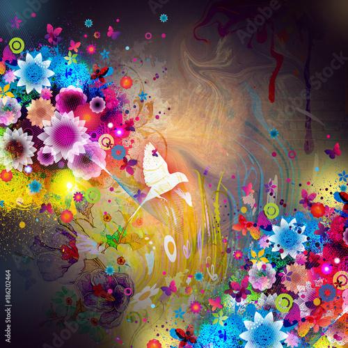 Абстрактный красочный фон с цветами и птицей