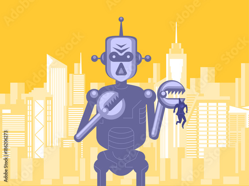 Photo  Giant evil robot holding human