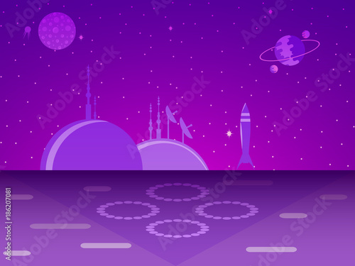 Spoed Foto op Canvas Violet Space base on the planet. Colonization. Futurism. Vector illustration