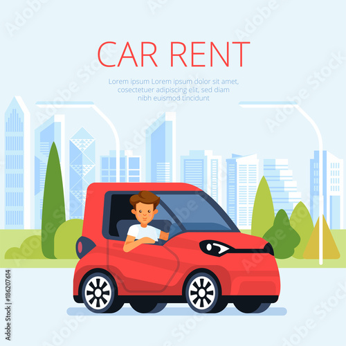 Car Rental Poster Concept Cartoon Style Vector Young Man On Blue Car On Pastoral Background Automobile Rent Poster Illustration Buy This Stock Vector And Explore Similar Vectors At Adobe Stock Adobe