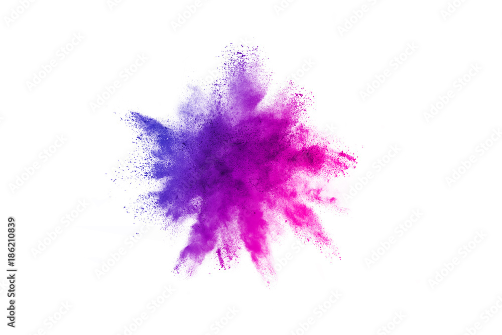Fototapety, obrazy: Multicolor powder explosion on white background. Colored cloud. Colorful dust explode. Paint Holi.
