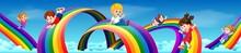 Cartoon Kids Sliding Down The ...
