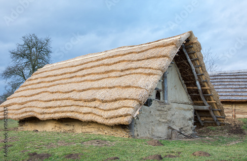 Photo Old rural hut with a thatched roof